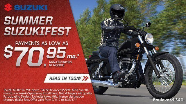 Suzuki Suzukifest Cruiser and Touring Motorcycle Financing as Low as 0% APR for 36 Months or Customer Cash Offer