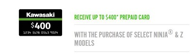 Kawasaki - Receive Up to $400* Visa Prepaid Card